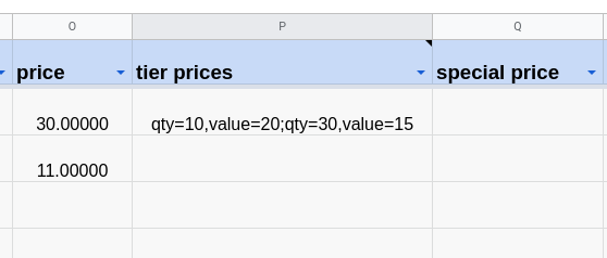 Manage tier prices in a spreadsheet.